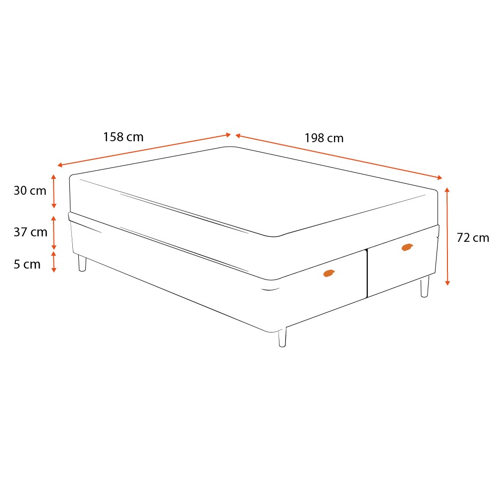 Cama Box Baú Queen Preta + Colchão de Molas Ensacadas - Comfort Prime - Aspen - 158x198x72cm