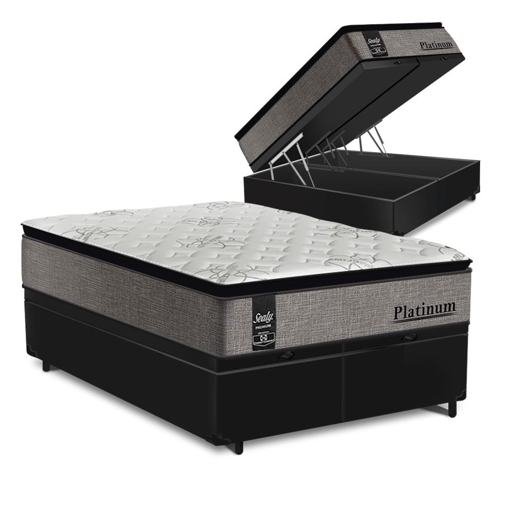 Cama Box Baú Queen Preta + Colchão de Molas Ensacadas - Sealy - Platinum - 158x198x74cm