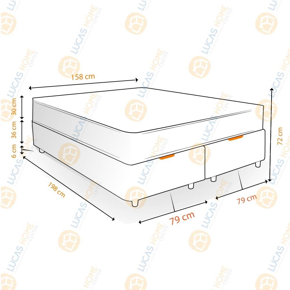 Cama Box Baú Queen Rústica + Colchão de Molas Ensacadas - Comfort Prime - New Aspen - 158x198x72cm