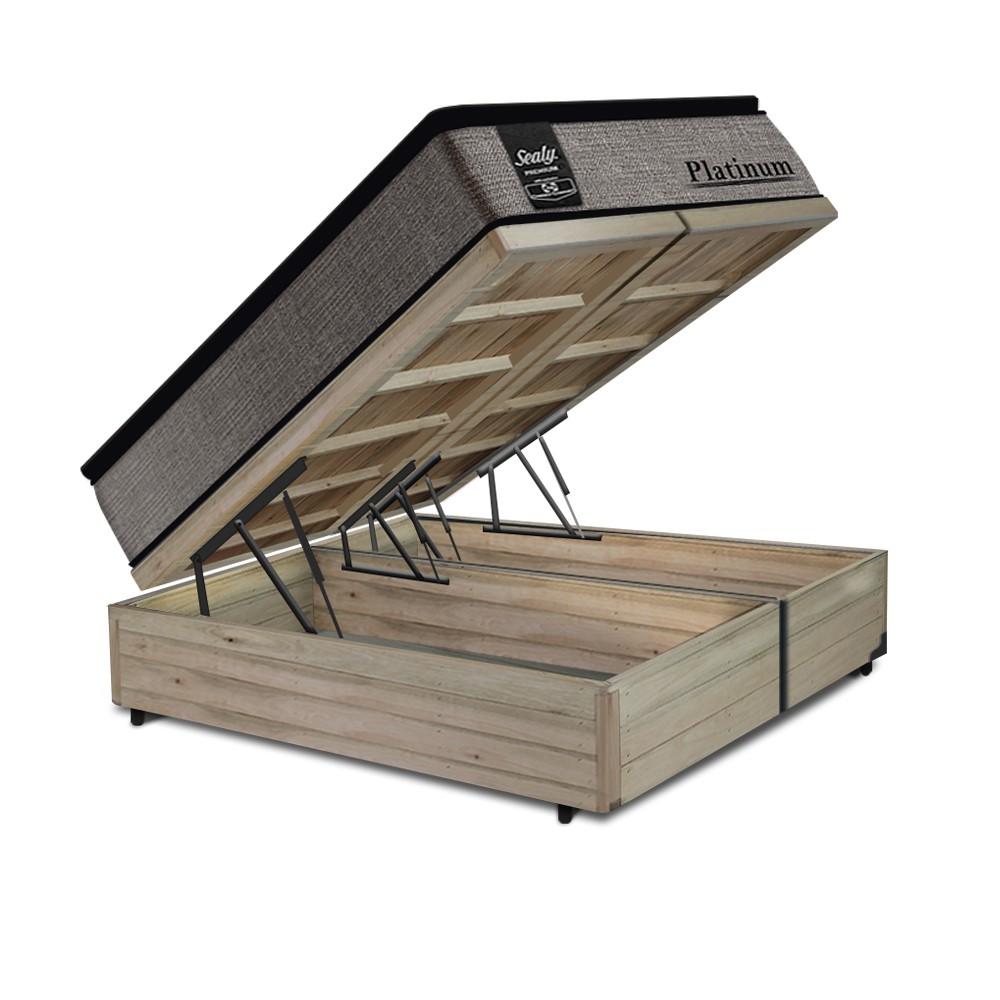 Cama Box Baú Queen Rústica + Colchão de Molas Ensacadas - Sealy - Platinum - 158x198x74cm