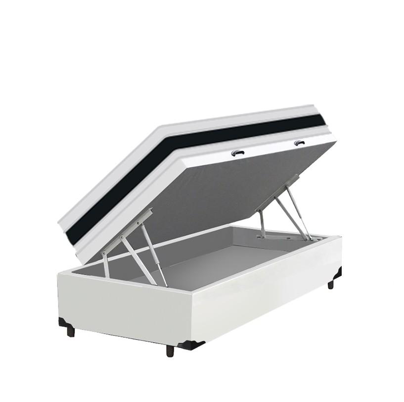 Cama Box Baú Solteiro Branca + Colchão De Espuma D45 - Castor - Black White Double Face 88x188x69cm