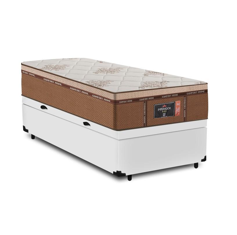 Cama Box Baú Solteiro Branca + Colchão de Molas Ensacadas - Comfort Prime - New Imperador - 88x188x75cm