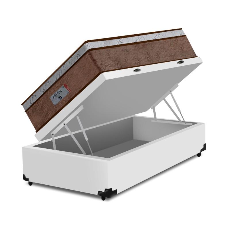 Cama Box Baú Solteiro Branca + Colchão de Molas Ensacadas - Comfort Prime - Aspen - 88x188x72cm