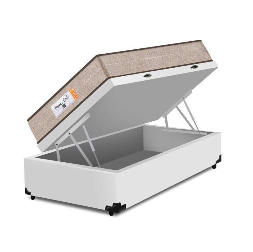 Cama Box Baú Solteiro Branca + Colchão de Molas Superlastic - Comfort Prime - Coil Crystal - 88x188x60cm