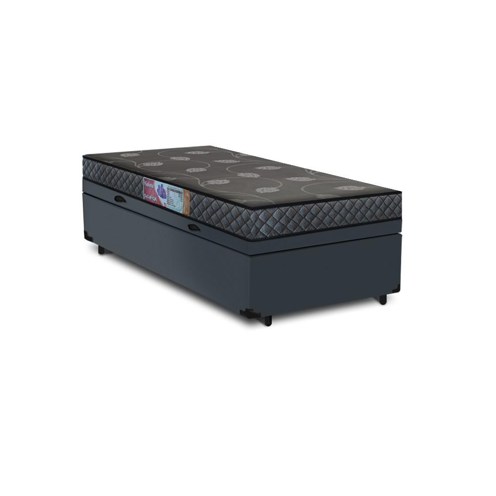 Cama Box Baú Solteiro Cinza + Colchão De Espuma D20 - Prorelax - Violeta 78x188x54cm