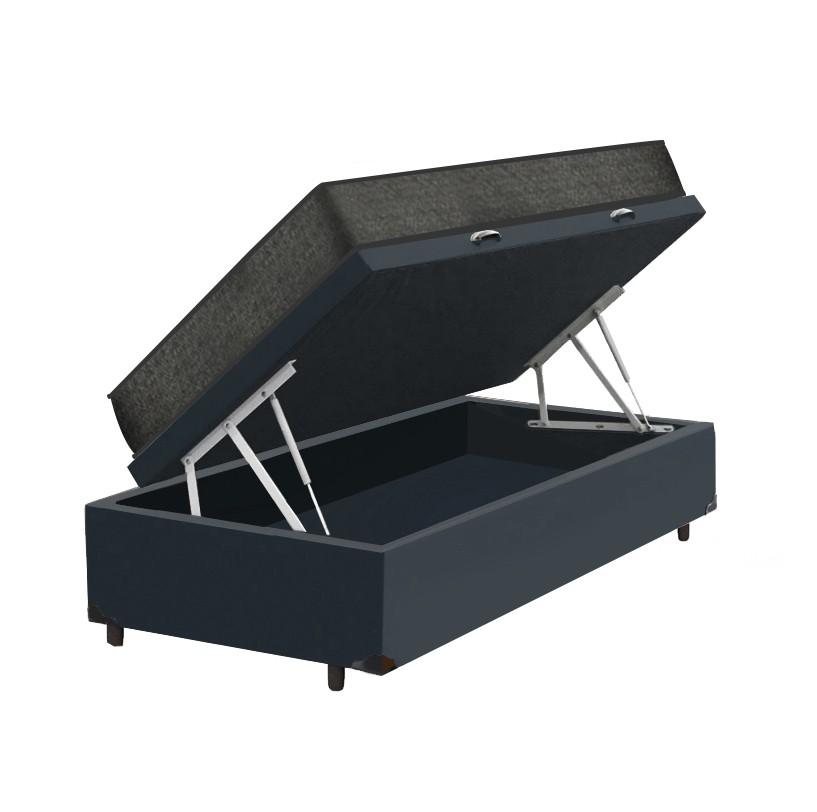 Cama Box Baú Solteiro Cinza + Colchão De Espuma D23 - Prorelax - Sienna 78x188x56cm