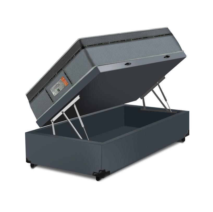 Cama Box Baú Solteiro Cinza + Colchão de Molas Ensacadas - Comfort Prime - New Aspen - 88x188x72cm