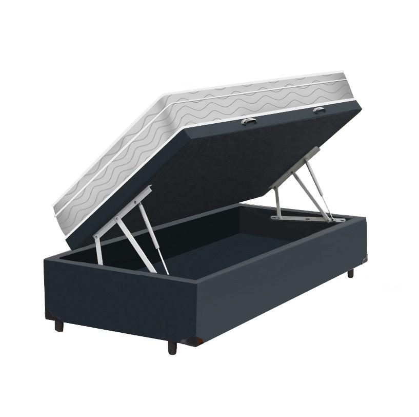 Cama Box Baú Solteiro Cinza + Colchão De Molas Ensacadas - Probel - Evolution 88x188x74cm
