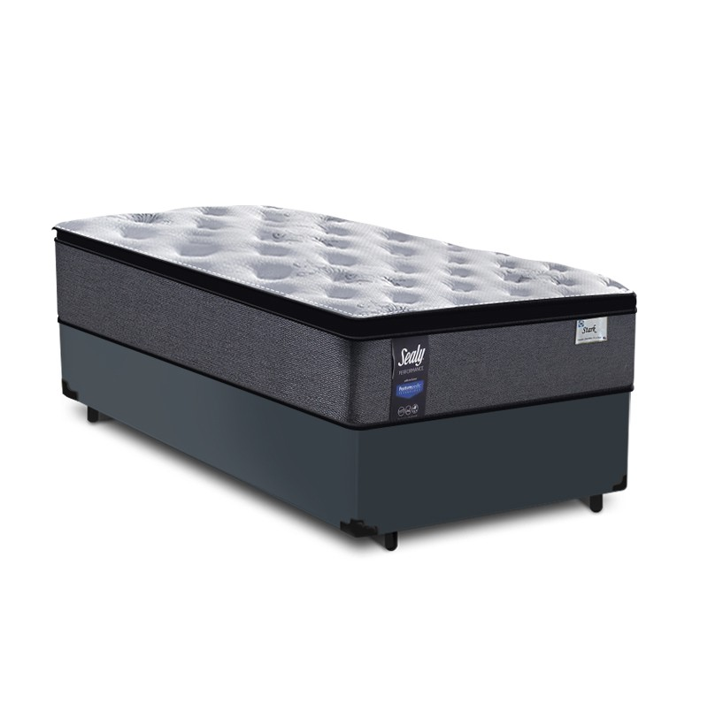 Cama Box Baú Solteiro Cinza + Colchão de Molas Ensacadas - Sealy - Starck - 88x188x70cm