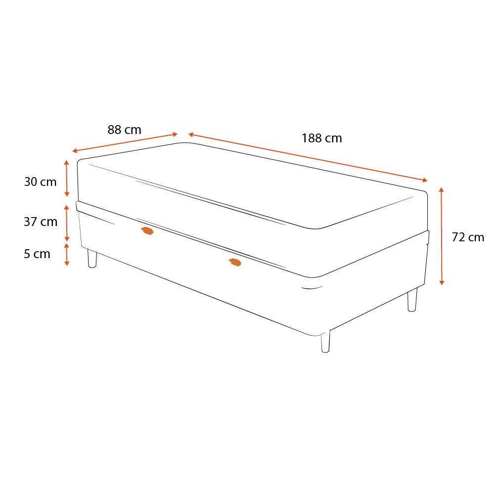 Cama Box Baú Solteiro Cinza + Colchão de Molas Ensacadas - Comfort Prime - Aspen - 88x188x72cm