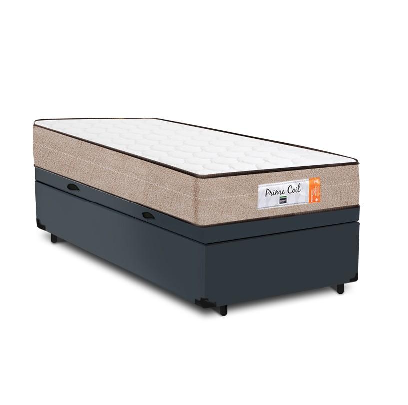 Cama Box Baú Solteiro Cinza + Colchão de Molas Superlastic - Comfort Prime - Coil Crystal 78x188x60cm
