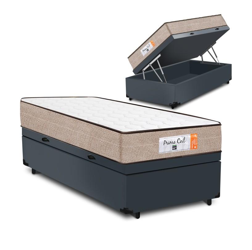 Cama Box Baú Solteiro Cinza + Colchão de Molas Superlastic - Comfort Prime - Coil Crystal - 88x188x60cm