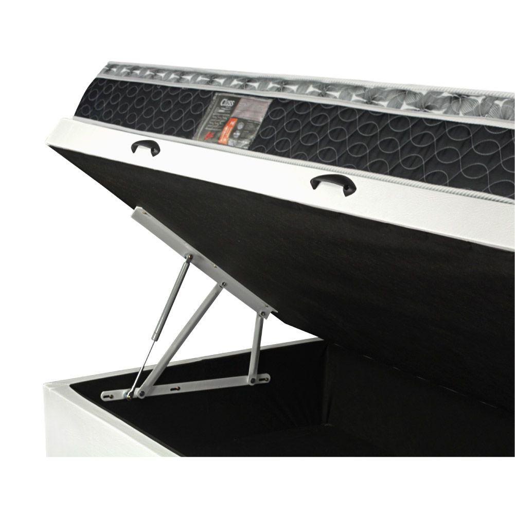 Cama Box Baú Solteiro King Branca + Colchão De Molas - Castor - Class Bonnel One Face 96x203x67cm