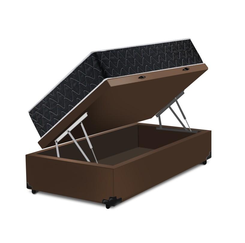Cama Box Baú Solteiro Marrom + Colchão de Espuma Extra Firme D33 - Comfort Prime - Comfort Maxx - 88x188x72cm