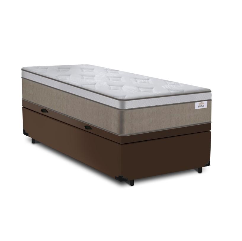 Cama Box Baú Solteiro Marrom + Colchão de Molas Ensacadas - Plumatex - Ilhéus - 88x188x68cm