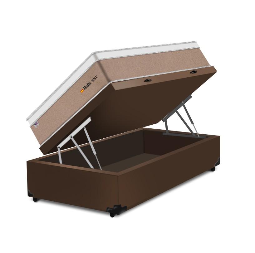 Cama Box Baú Solteiro Marrom + Colchão de Molas Ensacadas - Plumatex - Madri - 88x188x74cm