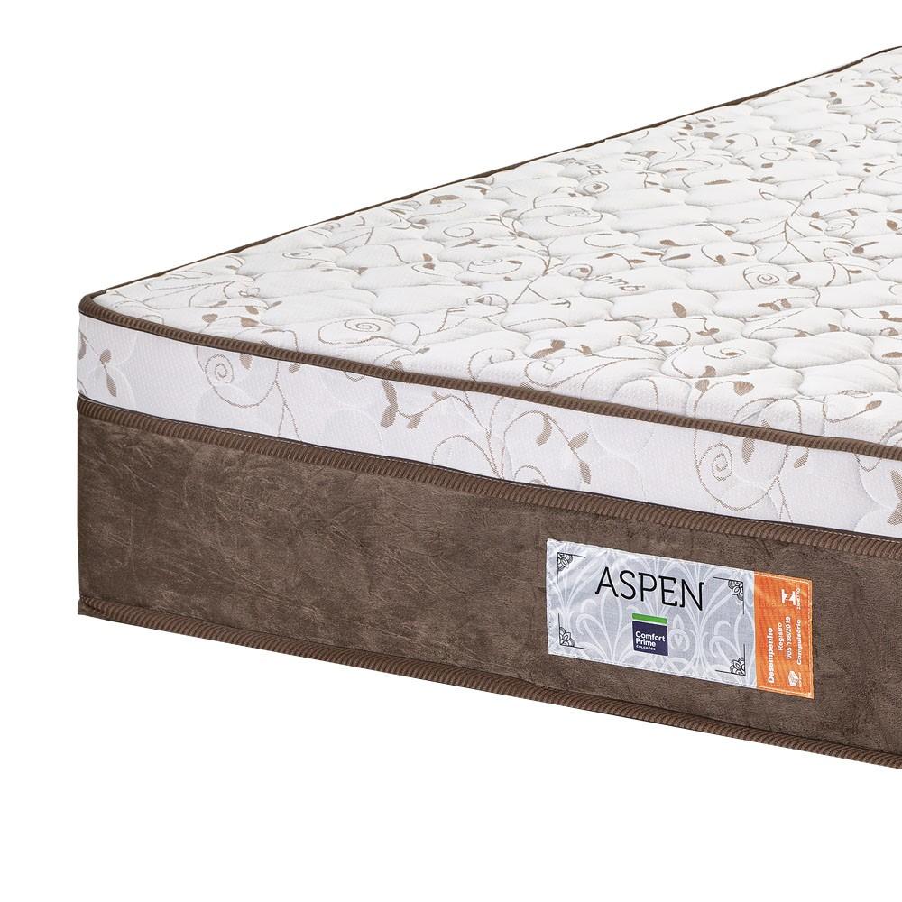 Cama Box Baú Solteiro Marrom + Colchão de Molas Ensacadas - Comfort Prime - Aspen - 88x188x72cm