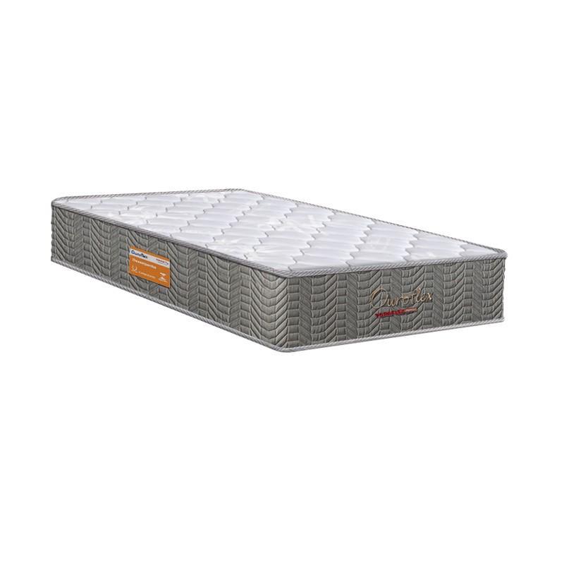 Cama Box Baú Solteiro Marrom + Colchão Molas Bonnel - Lucas Home - OuroFlex 88x188x67cm