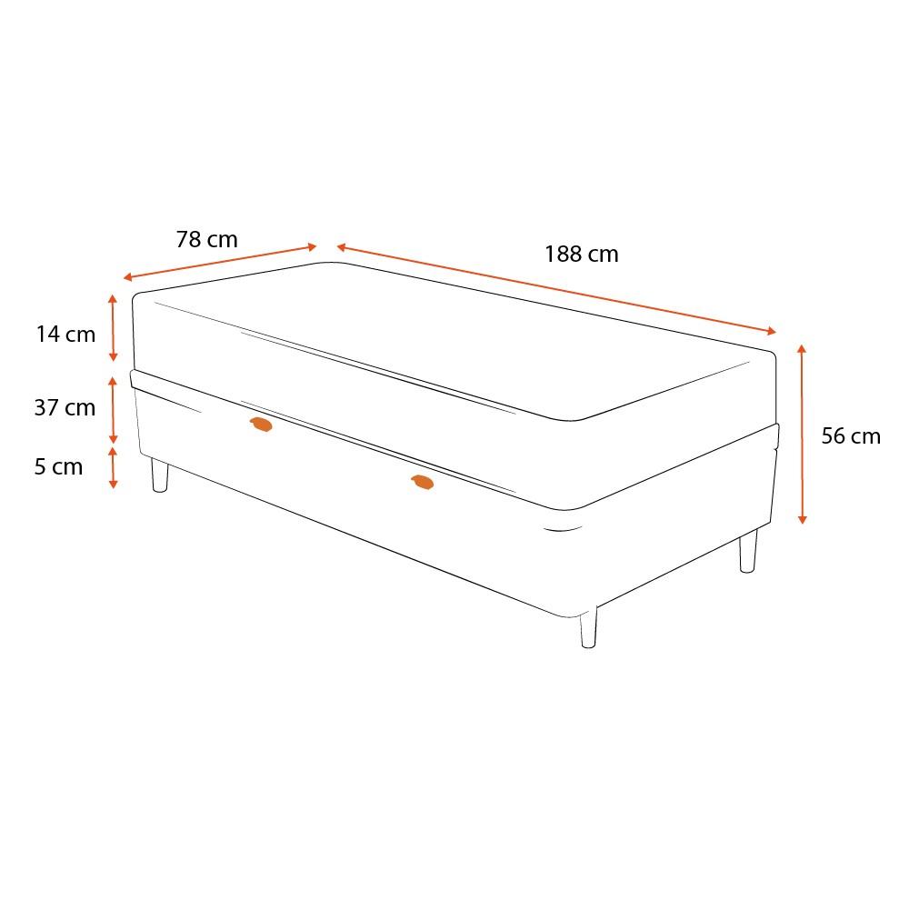 Cama Box Baú Solteiro Preta + Colchão de Espuma D23 - Ortobom - Light 78x188x56cm
