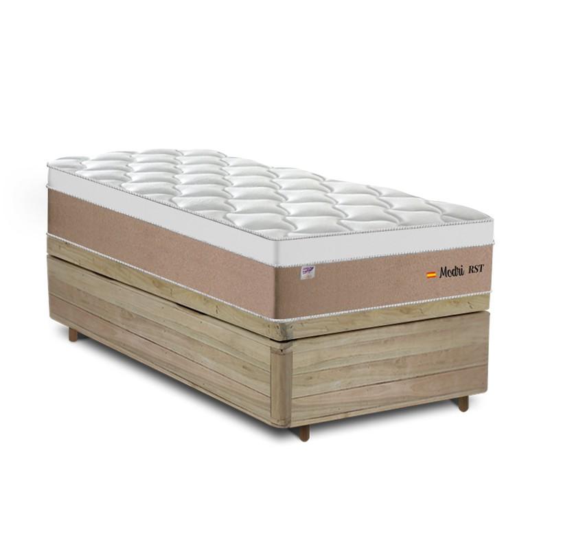 Cama Box Baú Solteiro Rústica + Colchão de Molas Ensacadas - Plumatex - Madri - 88x188x74cm