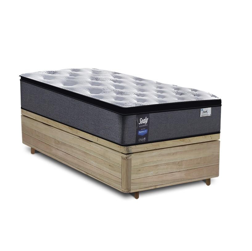 Cama Box Baú Solteiro Rústica + Colchão de Molas Ensacadas - Sealy - Starck - 88x188x70cm