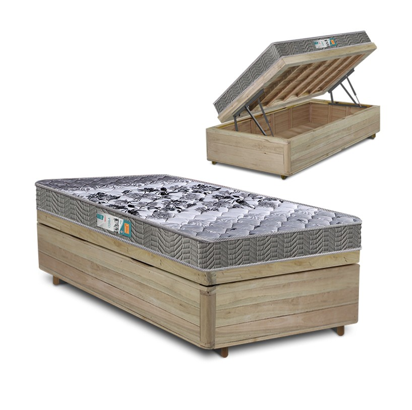 Cama Box Baú Solteiro Rústica + Colchão Espuma D33 - Lucas Home - Coala 88x188x54cm