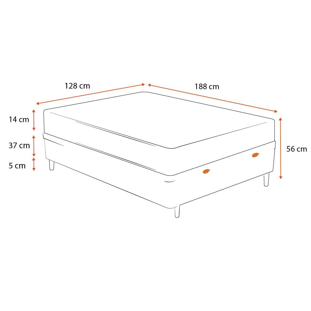 Cama Box Baú Viúva Branca + Colchão de Espuma D23 - Ortobom - Light D23 128x188x56cm