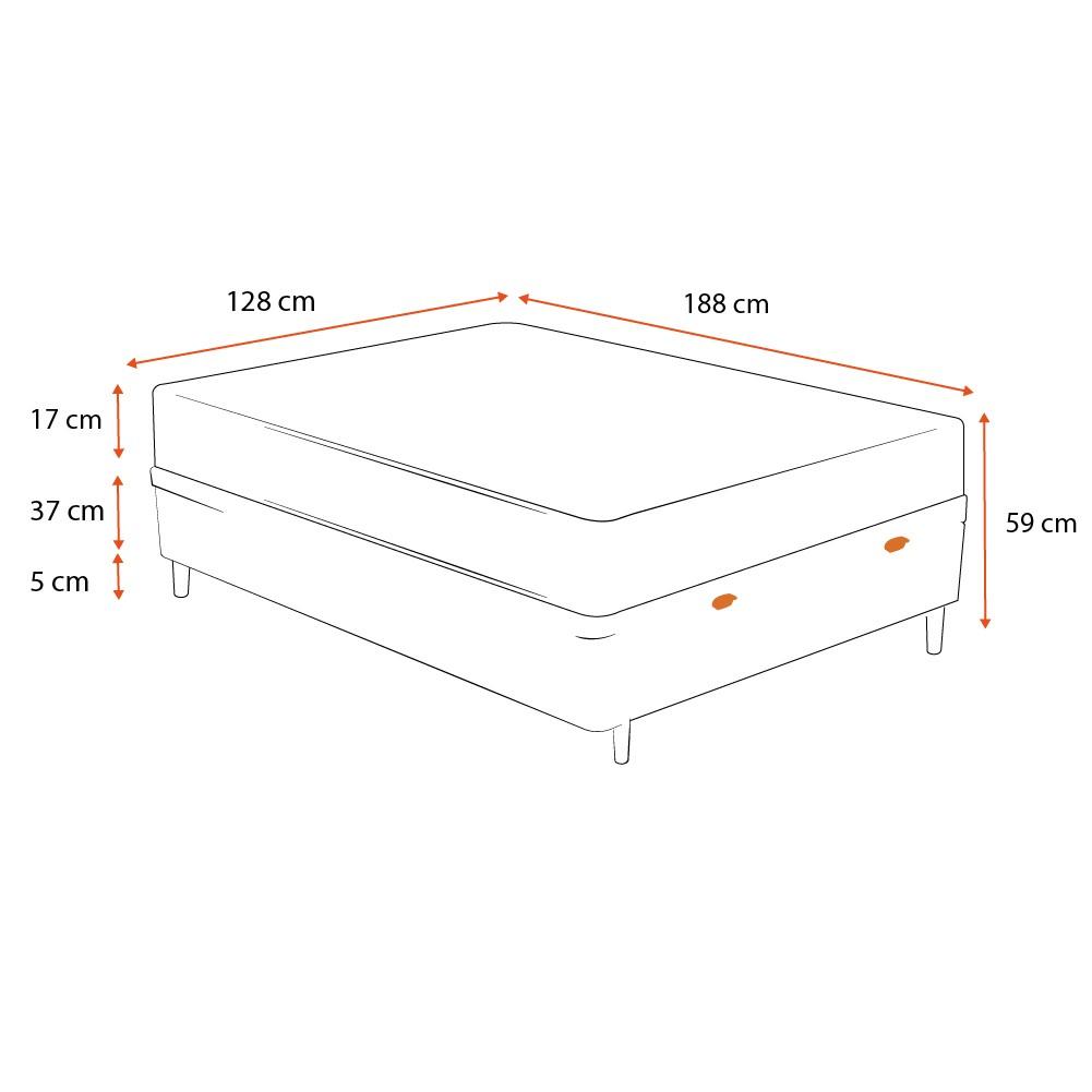Cama Box Baú Viúva Cinza + Colchão De Espuma D26 - Ortobom - Physical Ultra Resistente - 128x188x59cm