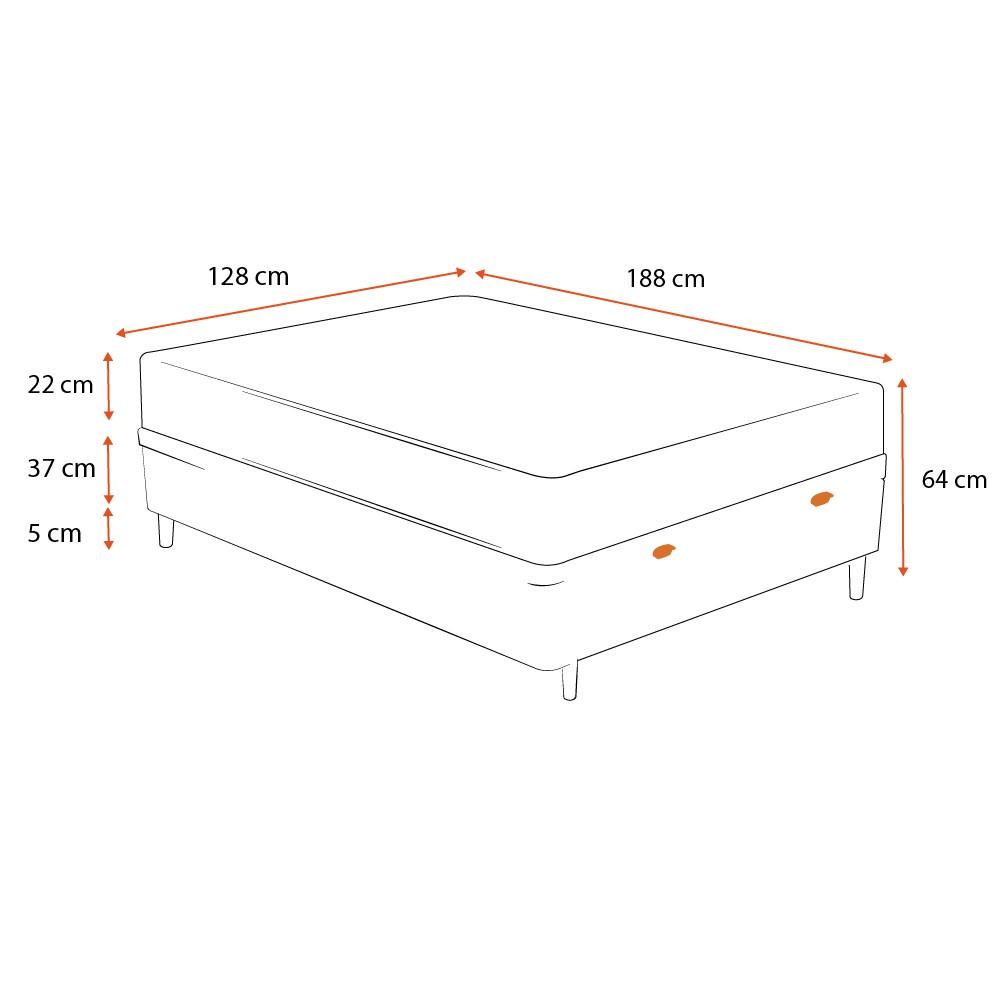 Cama Box Baú Viúva Cinza + Colchão de Molas Superlastic - Comfort Prime - Coil Classic - 128x188x64cm