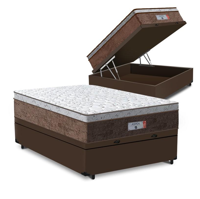 Cama Box Baú Viúva Marrom + Colchão de Molas Ensacadas - Comfort Prime - Aspen - 128x188x72cm
