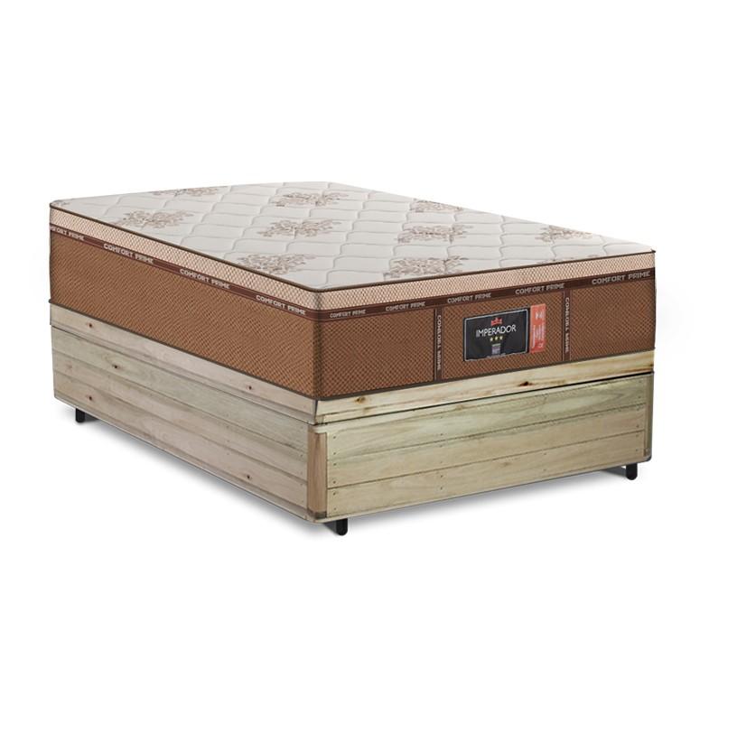 Cama Box Baú Viúva Rústica + Colchão de Molas Ensacadas - Comfort Prime - New Imperador - 128x188x75cm