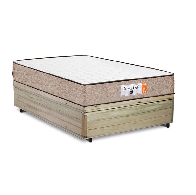 Cama Box Baú Viúva Rústica + Colchão de Molas Superlastic - Comfort Prime - Coil Crystal - 128x188x60cm