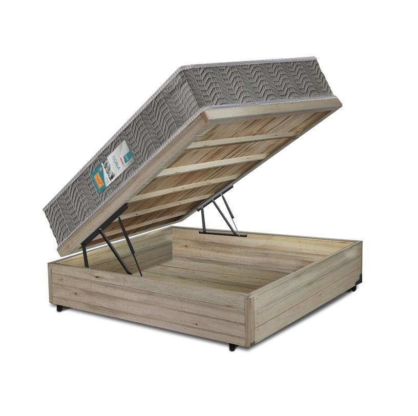 Cama Box Baú Viúva Rústica + Colchão Espuma D33 - Lucas Home - Coala 128x188x54cm