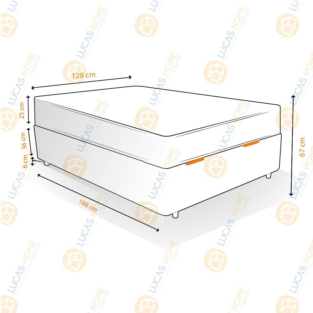 Cama Box Baú Viúva Rústica + Colchão Molas Ensacadas - Lucas Home - Capri 128x188x67cm