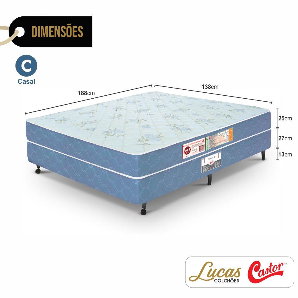 Cama Box Casal + Colchão De Espuma D45 - Castor - Sleep Max 65x138x188cm