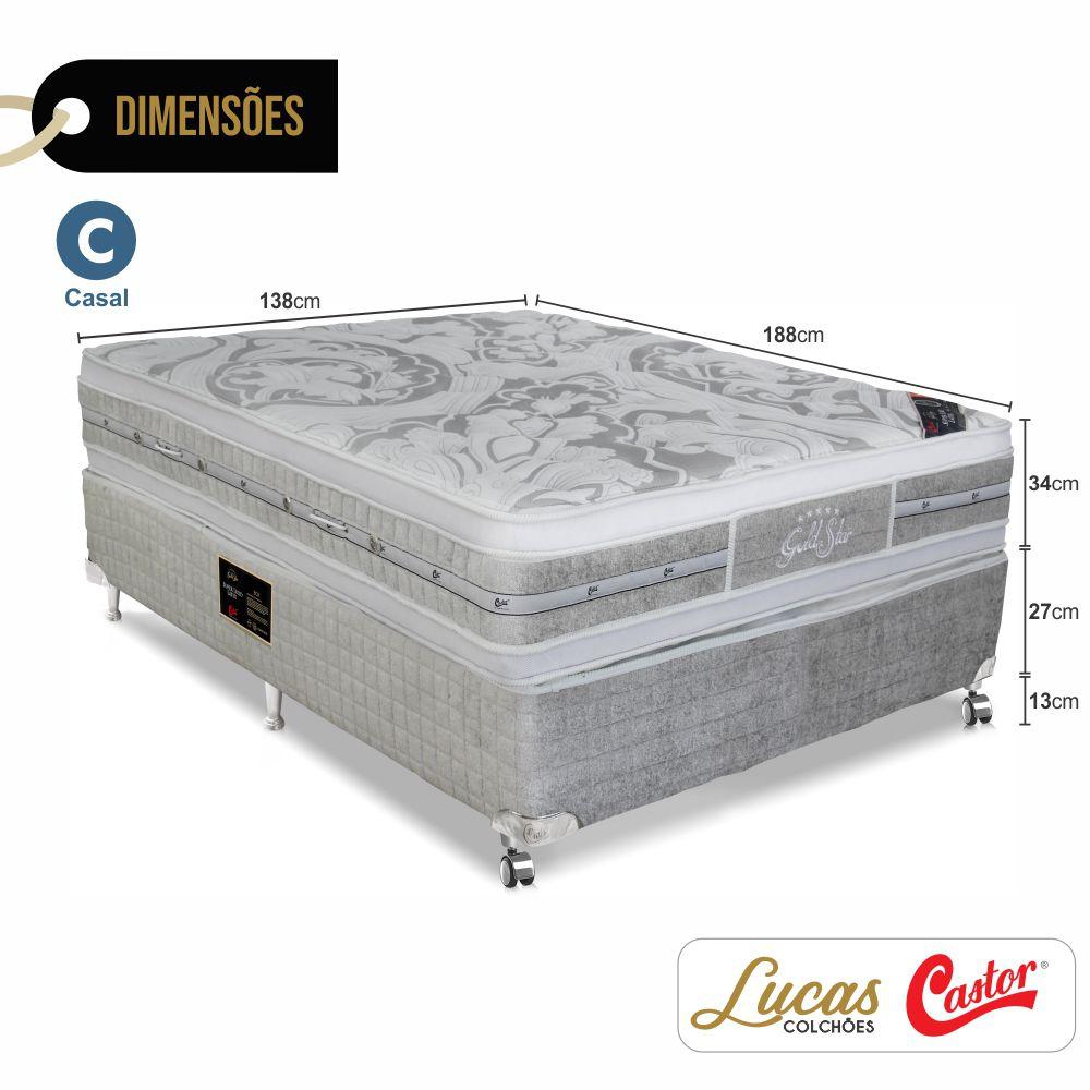 Cama Box Casal + Colchão De Molas Ensacadas - Castor - Gold Star Double Face 138cm