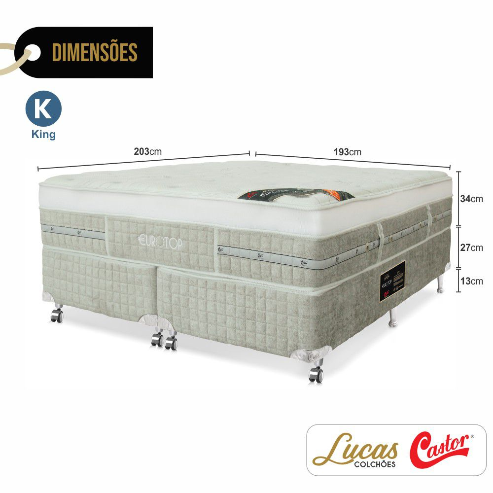 Cama Box King + Colchão De Molas Ensacadas - Castor - Eurotop Summer & Winter One Face 193cm
