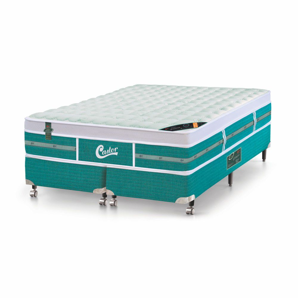 Cama Box King + Colchão De Molas Ensacadas - Castor - Green Unique 193cm