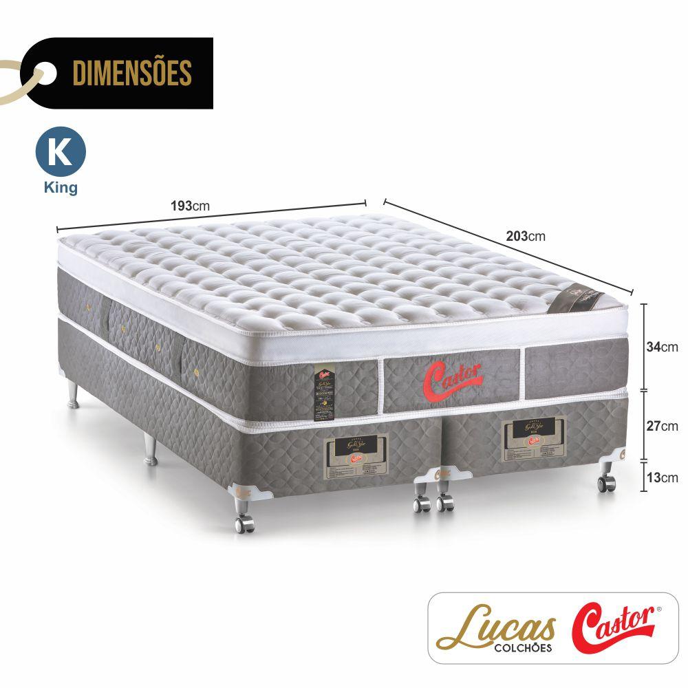 Cama Box King + Colchão De Molas Ensacadas - Castor - Light Stress Oxygen Plush One Face 193cm
