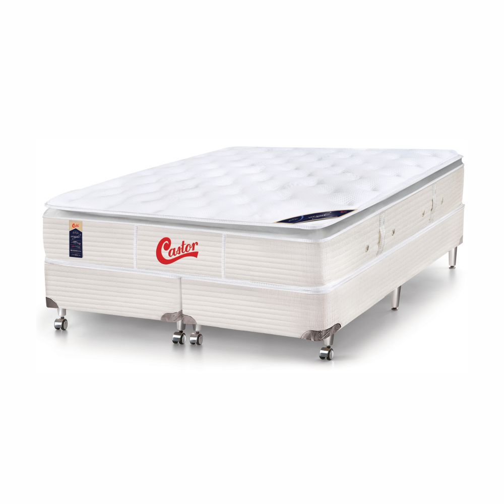 Cama Box King + Colchão De Molas Ensacadas - Castor - Vitagel SLX One Face Pillow Top 193cm