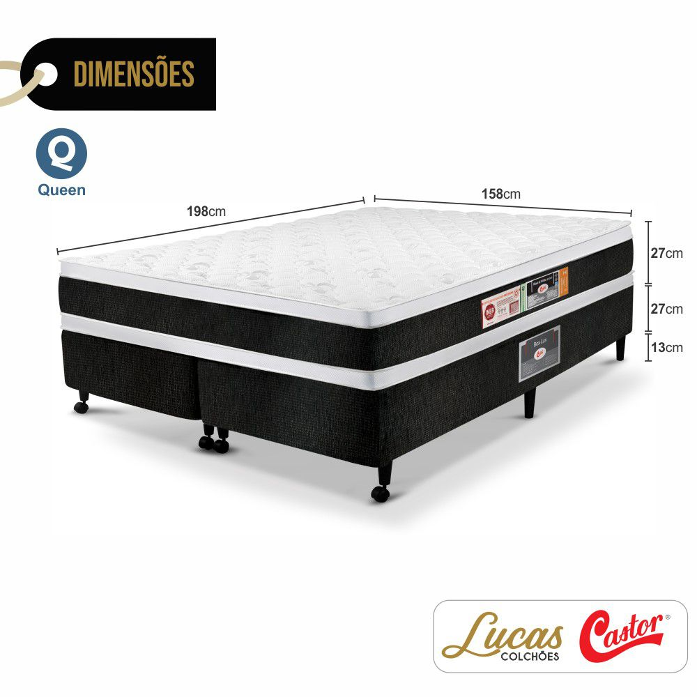 Cama Box Queen + Colchão De Espuma D45 - Castor - Black & White Double Face 67x158x198cm