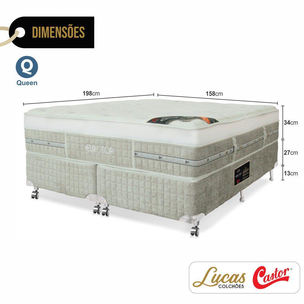 Cama Box Queen + Colchão De Molas Ensacadas - Castor - Eurotop Summer & Winter One Face 158cm