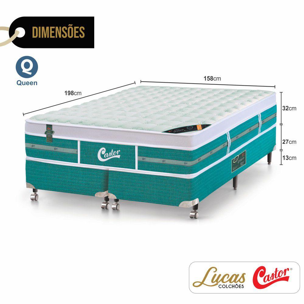 Cama Box Queen + Colchão De Molas Ensacadas - Castor - Green Unique 158cm