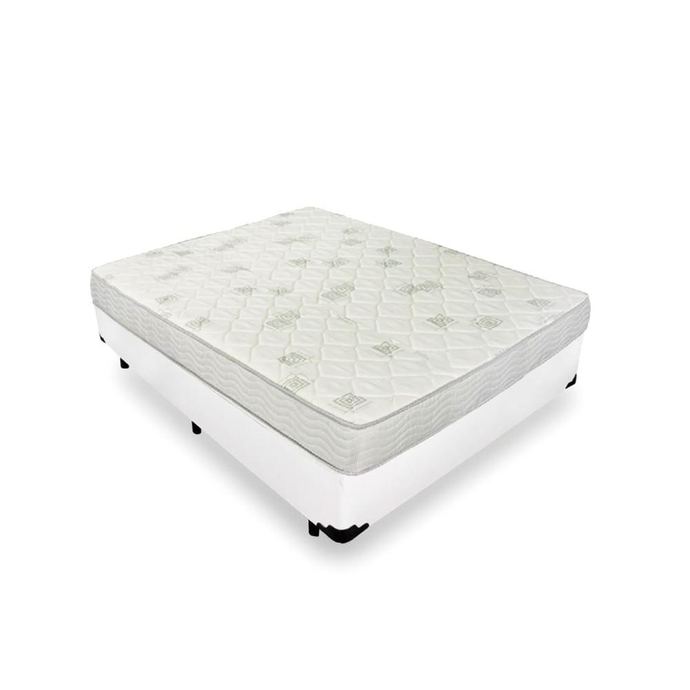 Cama Box Casal Branca + Colchão de Espuma D23 - Ortobom - Light D23 138x188x49cm