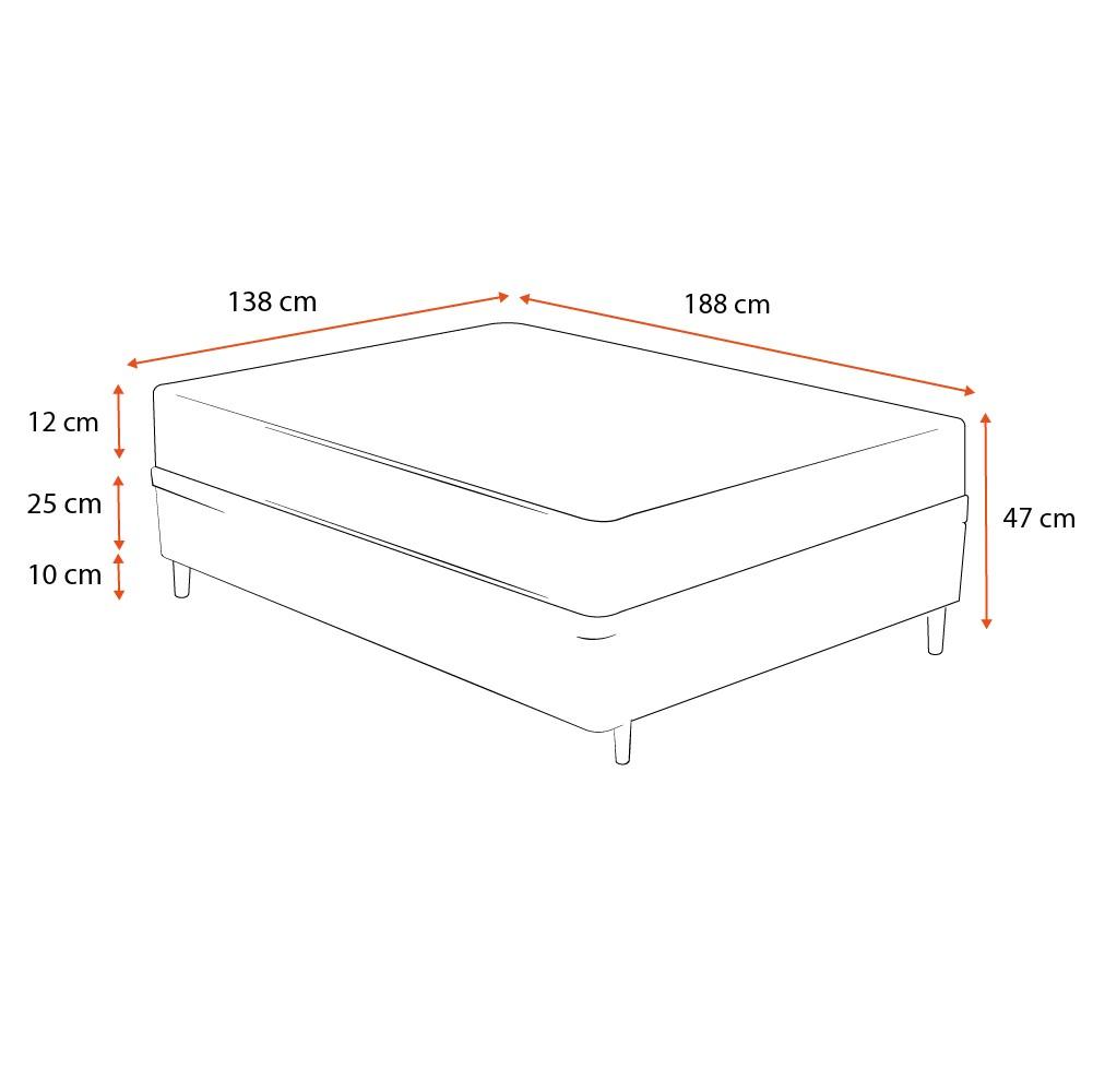 Cama Box Casal Cinza + Colchão De Espuma D23 - Ortobom - Light Liso - 138x188x47cm