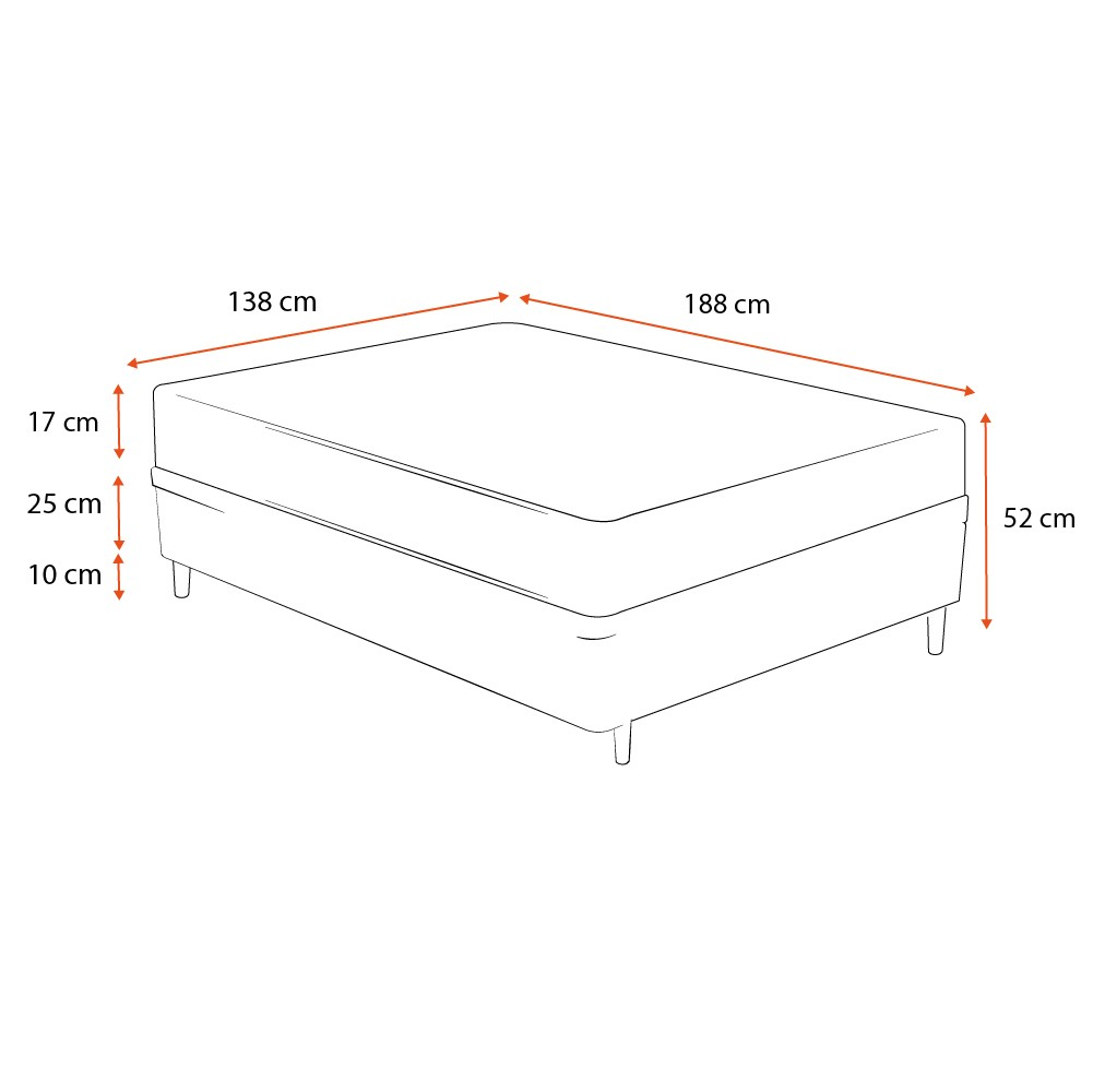 Cama Box Casal Cinza + Colchão De Espuma D26 - Ortobom - Physical Ultra Resistente - 138x188x52cm