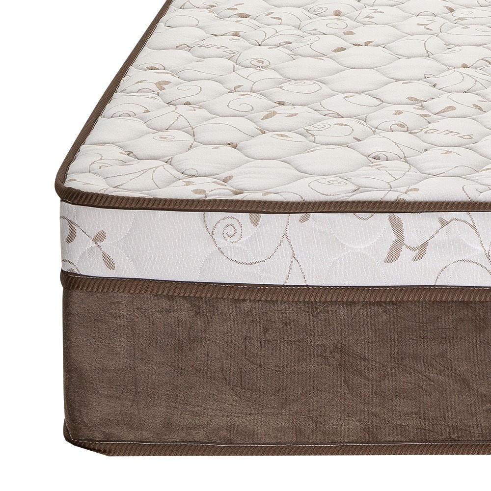 Cama Box Casal Cinza + Colchão de Molas Ensacadas - Comfort Prime - Aspen - 138x188x65cm