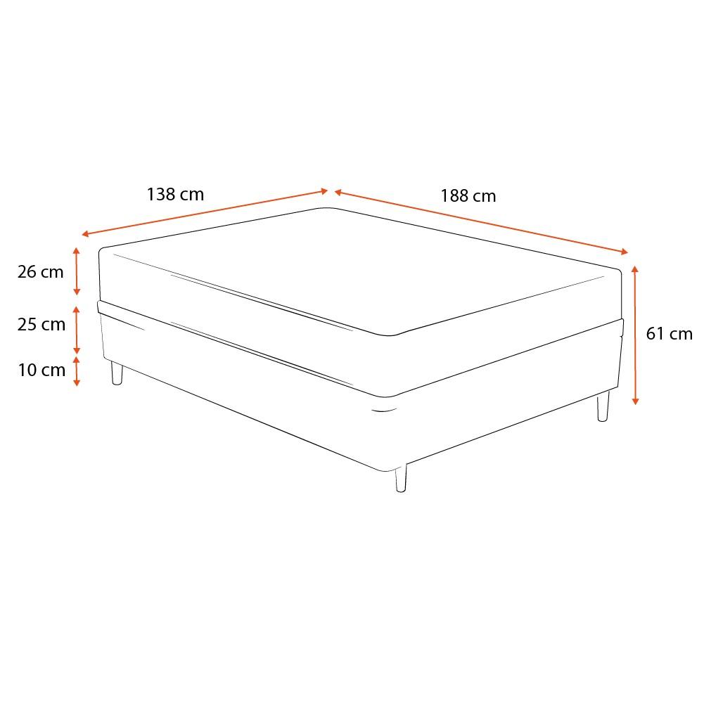 Cama Box Casal Cinza + Colchão de Molas Ensacadas - Plumatex - Ilhéus - 138x188x61cm
