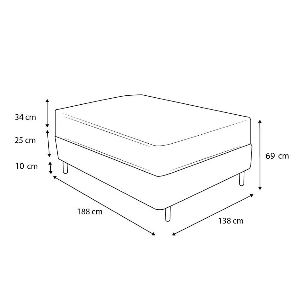Cama Box Casal Cinza + Colchão de Molas Superlastic - Plumatex - Toulouse - 138x188x69cm