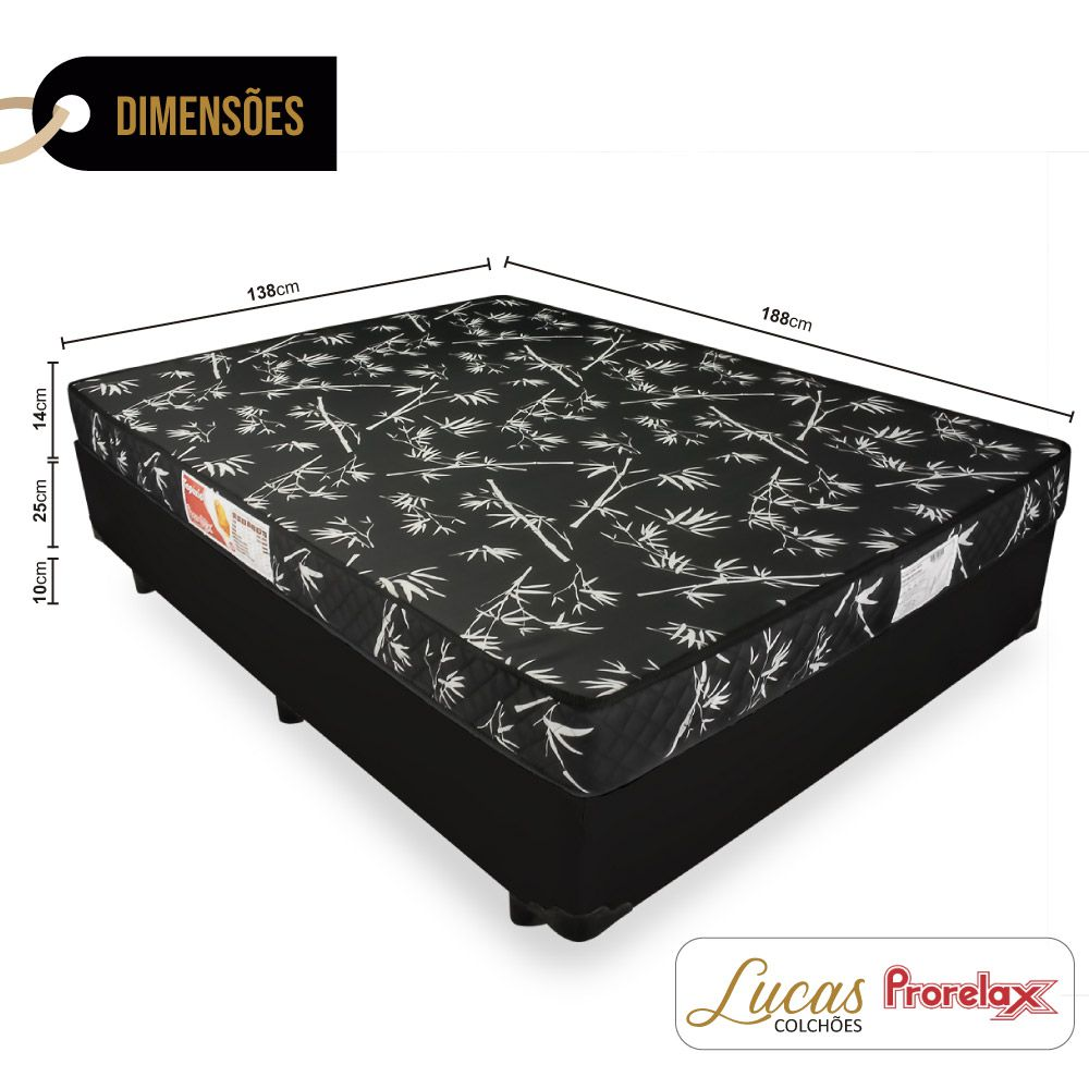 Cama Box Casal + Colchão De Espuma D23 - Prorelax - Topázio 138cm